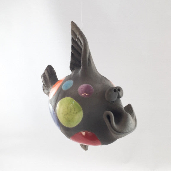 Ceramic Fish - Hanging - Grinning - Multi Color