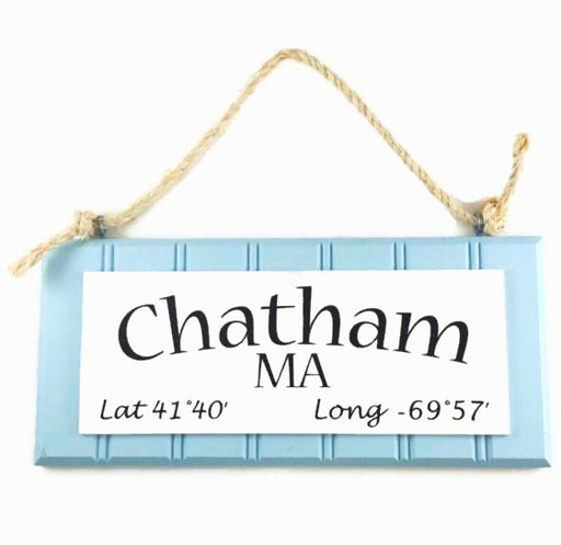 Beadboard Longitude Sign - Chatham - Blue