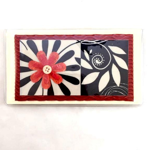 Check Book Cover - Red Flower - 622