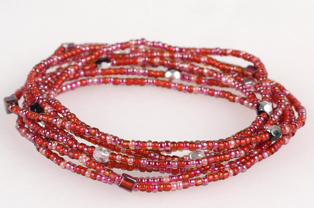 Convertible Necklace - Red/Clear - NN415