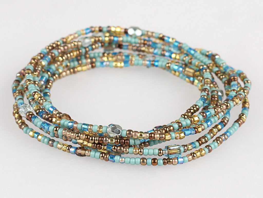 Convertible Necklace - Turquoise/Gold - NN418