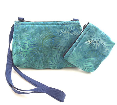 Cross Body Bag/Change Purse - Blue Batik