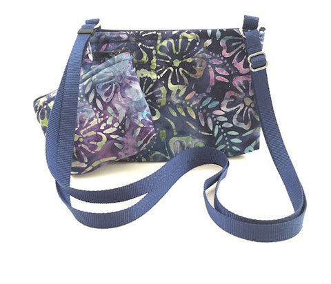 Cross Body Bag/Change Purse - Dark Blue Batik