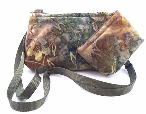 Cross Body Bag/Change Purse - Green Batik