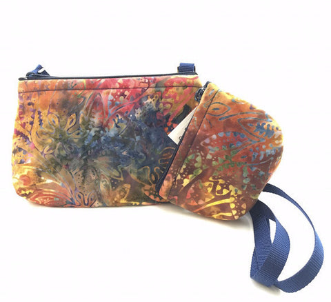 Cross Body Bag/Change Purse - Multi Color Batik