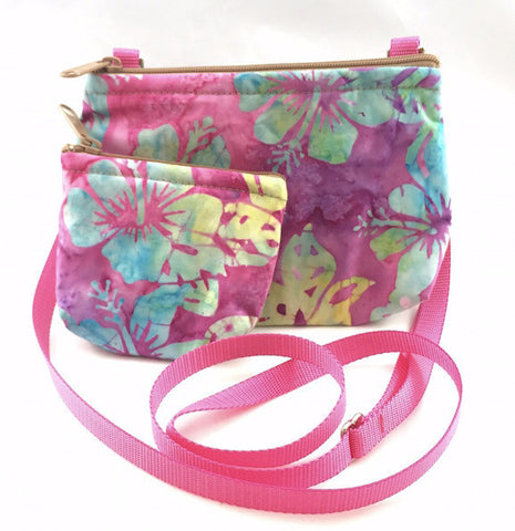 Cross Body Bag/Change Purse - Pink Batik