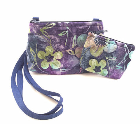 Cross Body Bag/Change Purse - Purple Batik