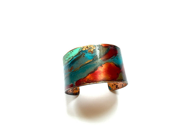 "Bracelet - Red and Mixed Verdigris Cuff - 1.25"" Width - B1517"