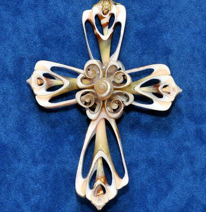 Ornament - Cut Shell Cross - Plain
