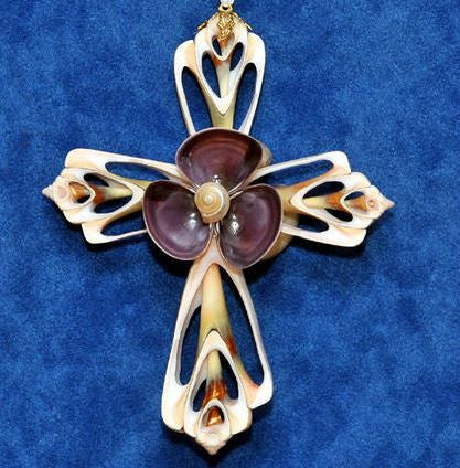 Ornament - Cut Shell Cross - Purple