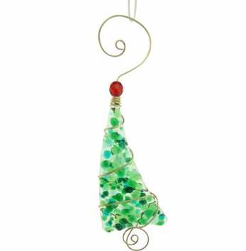 Ornament - Crushed Glass Tree - 5 Inch - Greens