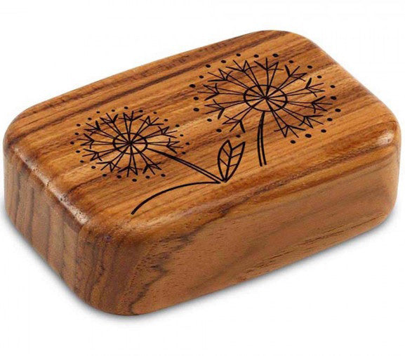 Secret Box - Laser Art - Dandelions - Teak - 3/4x2x3 - SC6441-277