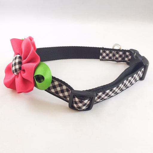 Dog Collar - Black Plaid with Pink Flower - Large