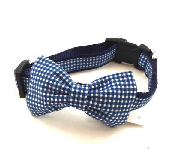 Dog Collar - Blue Gingham Bow Tie - Small