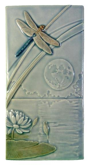 Ceramic Art Tile - Dragonfly Moon - B104