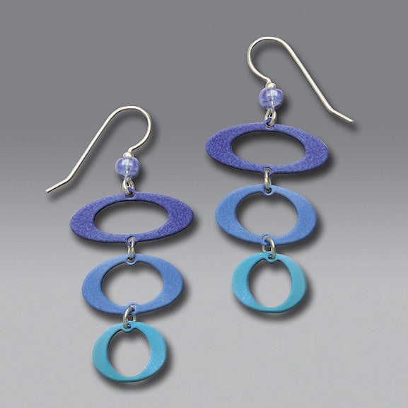 Earrings - 3 Blue/Aqua Open Ovals - 7141