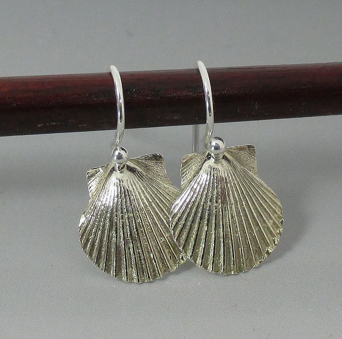 Earrings - .999 Fine Silver Shells Sterling Silver