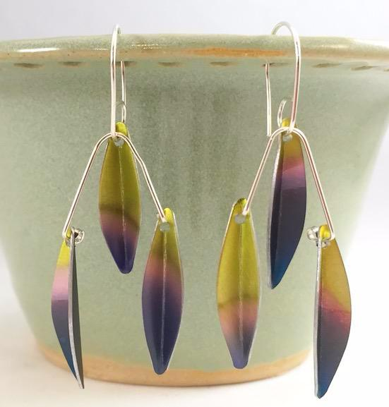 Earrings - Anodized Aluminum and Sterling Silver Earrings - Black/Pink/Yellow - A-13-61