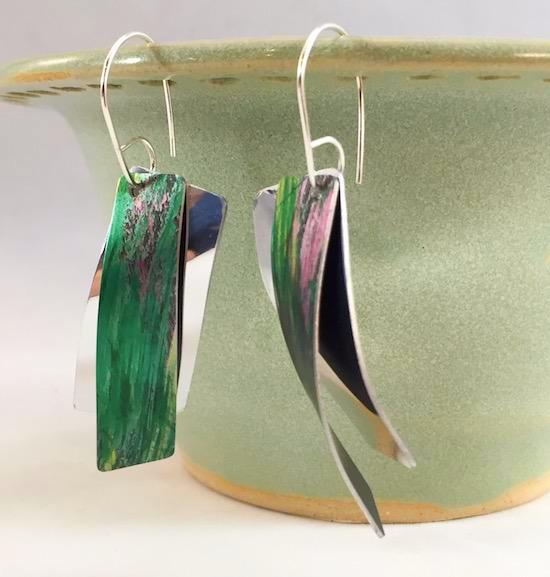 Earrings - Anodized Aluminum and Sterling Silver Earrings - Green/Pink - A5-14