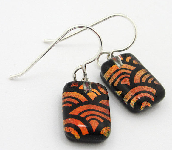 Earrings - Art Deco Drops - Copper/Black - BM-025