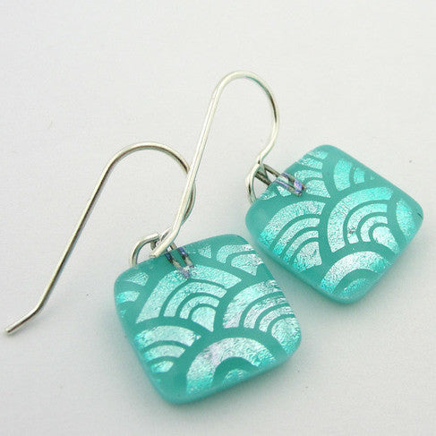 Earrings - Art Deco Squares - Aqua - BM-018