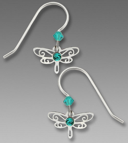 Earrings - Blue Zircon Mini Dragonfly - 0716-1