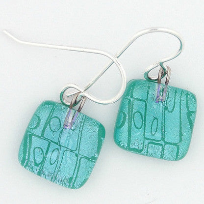 Earrings - Cells Squares - Teal - BMD-016