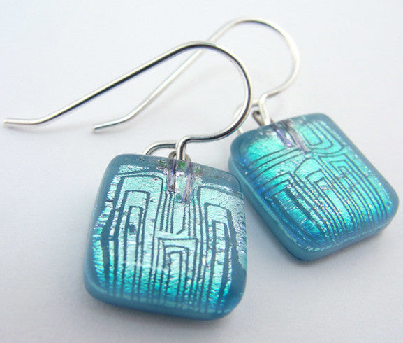Earrings - Comic Genius Squares - Silver/Blue - BMD-003