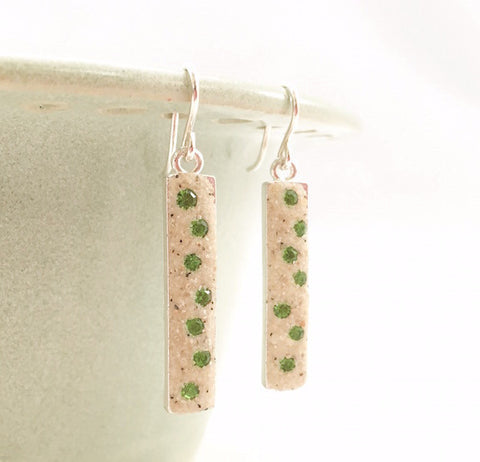 Earrings - Dangle - Bright Green Crystals - Nauset
