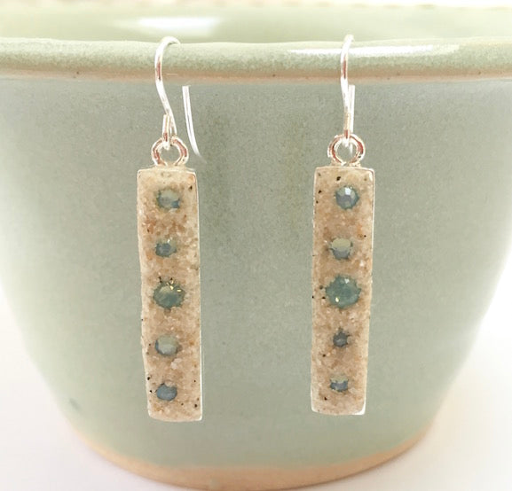 Earrings - Dangle - Pacific Blue Opal Crystals - Cape Cod