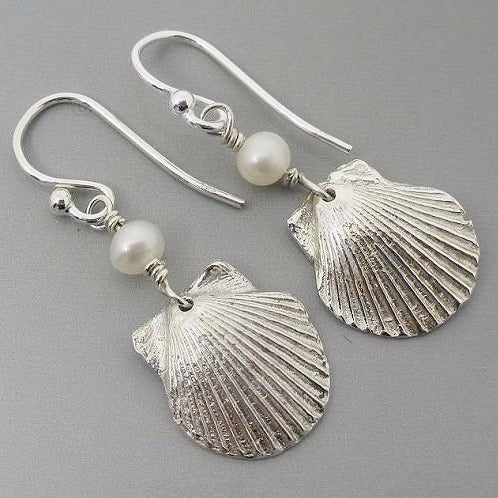 Earrings - Fine Silver PMC Shells with Freshwater Pearls Sterling Silver