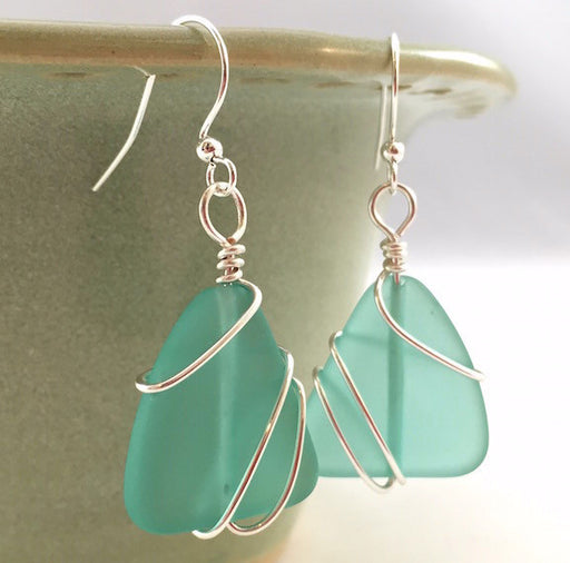Earrings - Freeform Wraps - Aqua Green