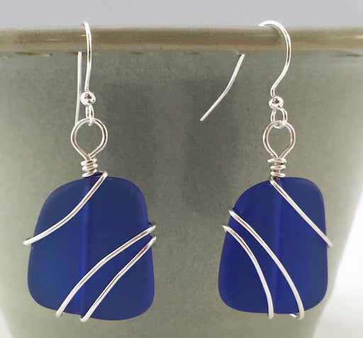 Earrings - Freeform Wraps - Cobalt