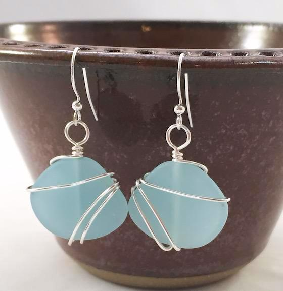 Earrings - Freeform Wraps - Opaque Blue