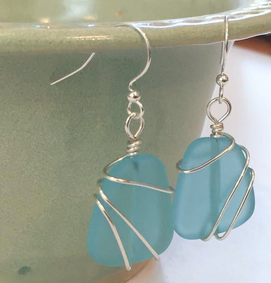 Earrings - Freeform Wraps - Pacific Blue