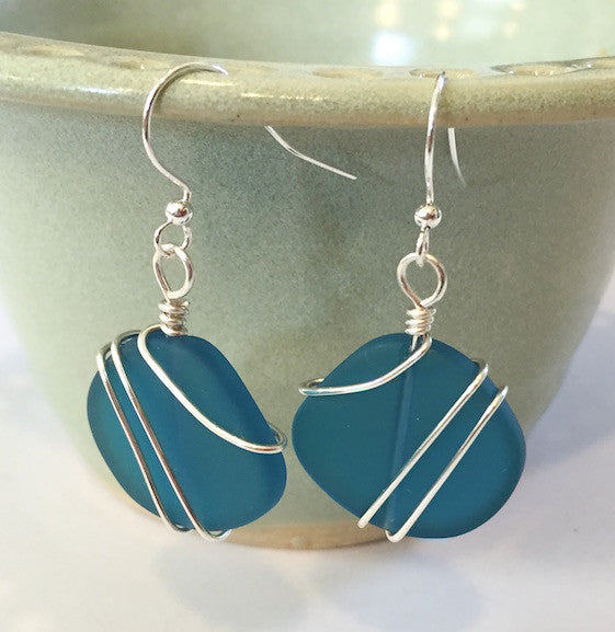 Earrings - Freeform Wraps - Teal