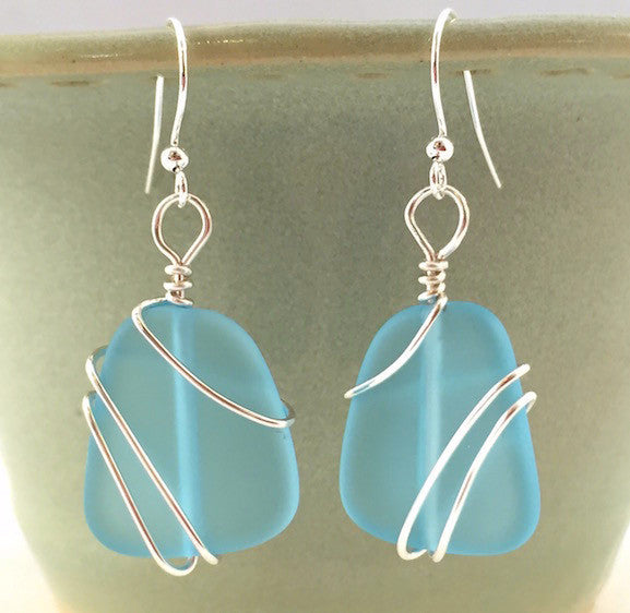 Earrings - Freeform Wraps - Turquoise Blue