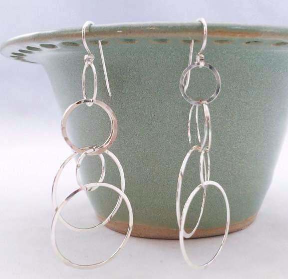 Earrings - Lacy Circle Earrings - Large - SS - E75