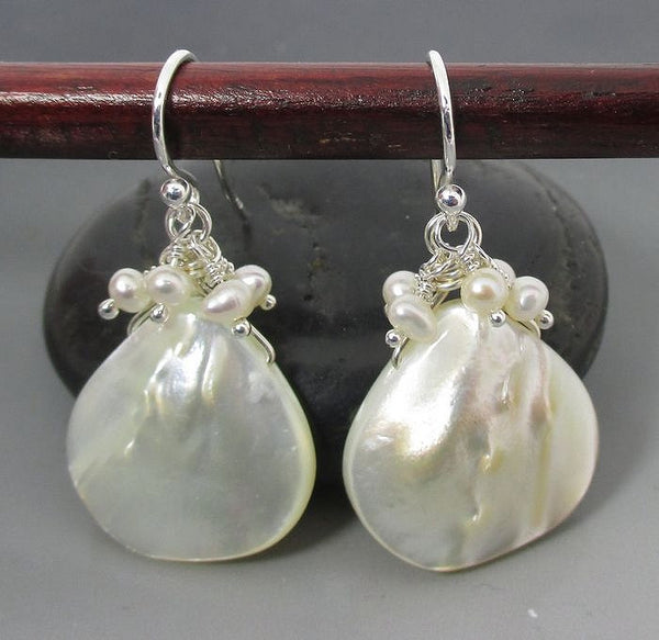Earrings - Mother of Pearl with Pearl Clusters SS