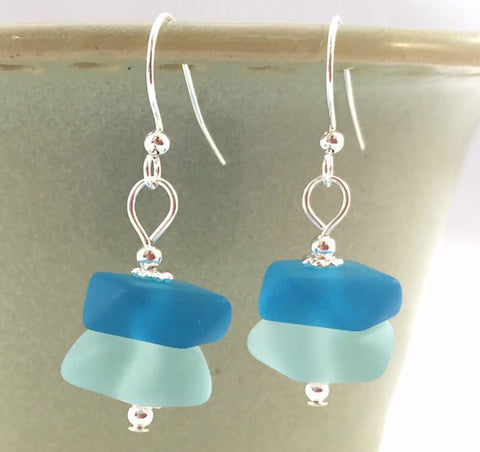 Earrings - Nugget Stacks - Aqua/Pacific Blue - Silver Accent
