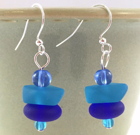Earrings - Nugget Stacks - Cobalt/Pacific Blue - Blue Bead Accent