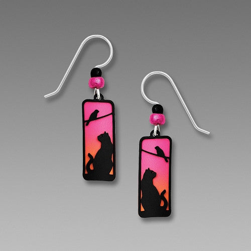Earrings - Pink to Orange Column with Sunset Cat and Bird Overlay - 1977