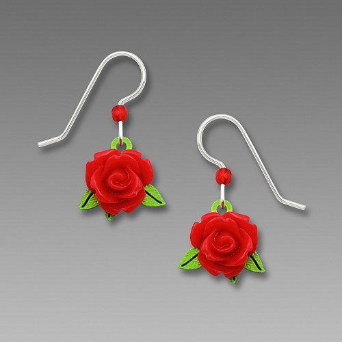 Earrings - Red Rose 3D Drop with Green Leaf - 1897