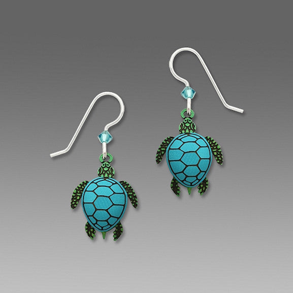 Earrings - Sea Turtle Green with Blue Shell - 1658
