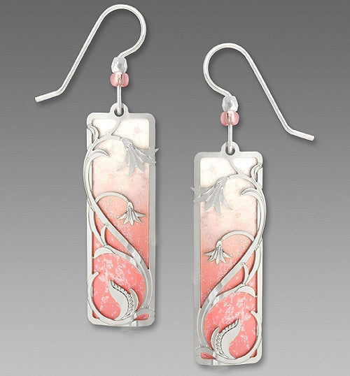 Earrings - Shell Pink and White Column with Bell Flower Overlay - 7530