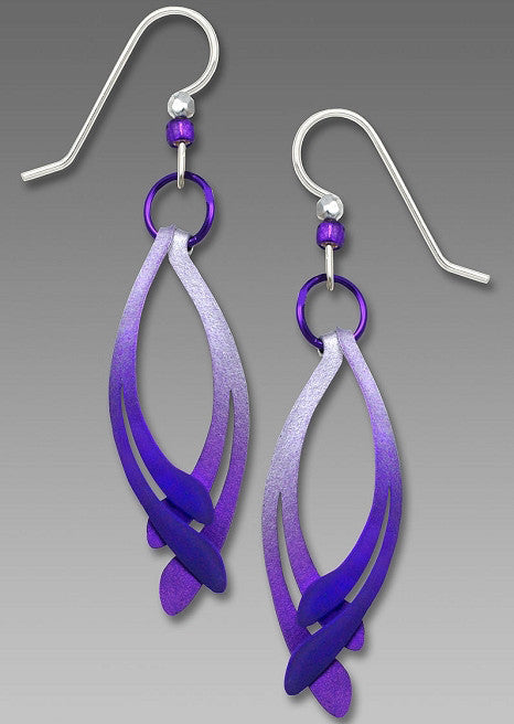 Earrings - Silver to Violet Mirrored Curves with Violet Ring - 7673