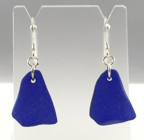 Earrings - Single Sea Glass - E00 - Cobalt