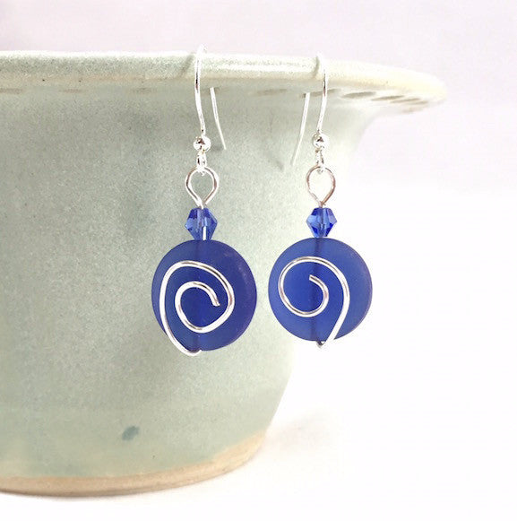 Earrings - Spiral Coin - Small - Cobalt
