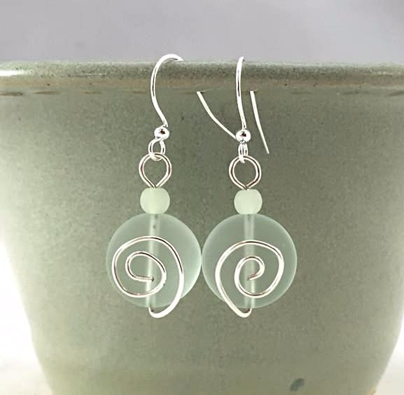 Earrings - Spiral Coin - Small - Pale Aqua