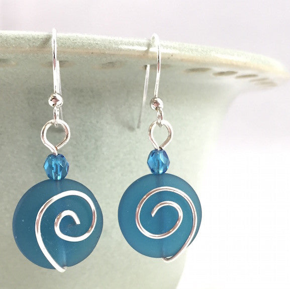 Earrings - Spiral Coin - Small - Teal